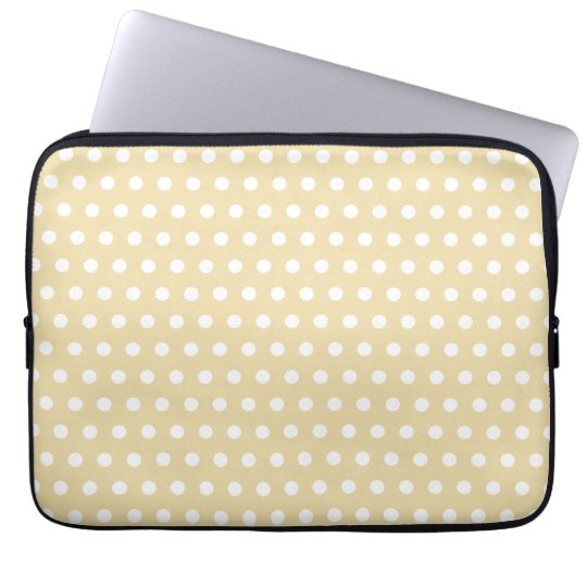 Beige and White Polka Dot Pattern. Spotty. Laptop