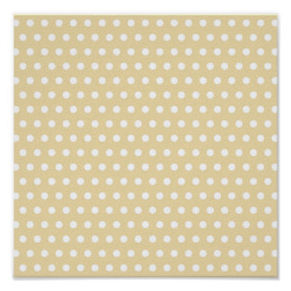 Beige and White Polka Dot Pattern. Spotty. Poster