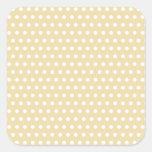 Beige and White Polka Dot Pattern. Spotty. Square Sticker