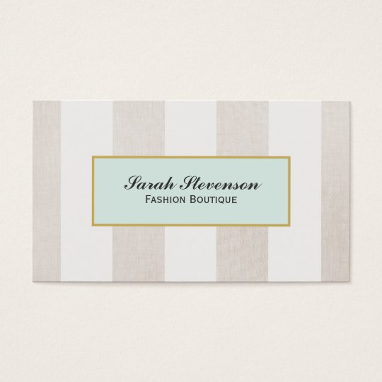 Beige and White Stripes Boutique Business Card