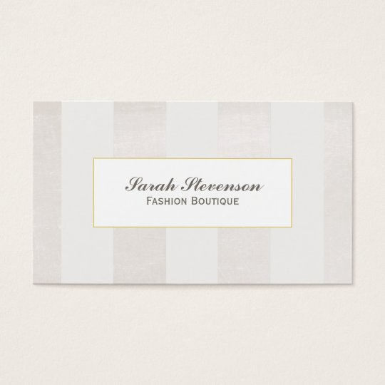 Beige and White Stripes Boutique Monochromatic Business Card