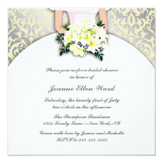Beige and Yellow Bridal Shower Invitation