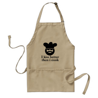 Beige aprons for men | i kiss better then i cook