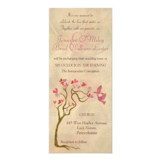 Beige artistic tree wedding invitations