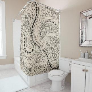 beige aztec geometric pattern shower curtain
