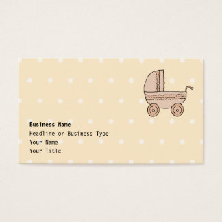 Beige Baby Pram. On spotty background. Business Card