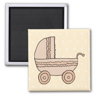 Beige Baby Pram. On spotty background. Refrigerator Magnets