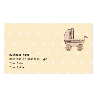 Beige Baby Pram. On spotty background. Pack Of Standard Business Cards