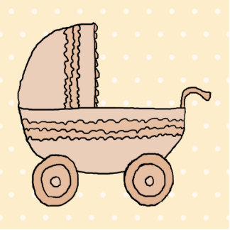 Beige Baby Pram. On spotty background. Photo Sculpture Key Ring
