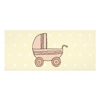 Beige Baby Pram. On spotty background. Rack Card Template