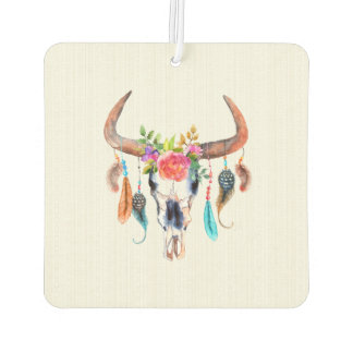 Beige Background And Bull Skull Car Air Freshener