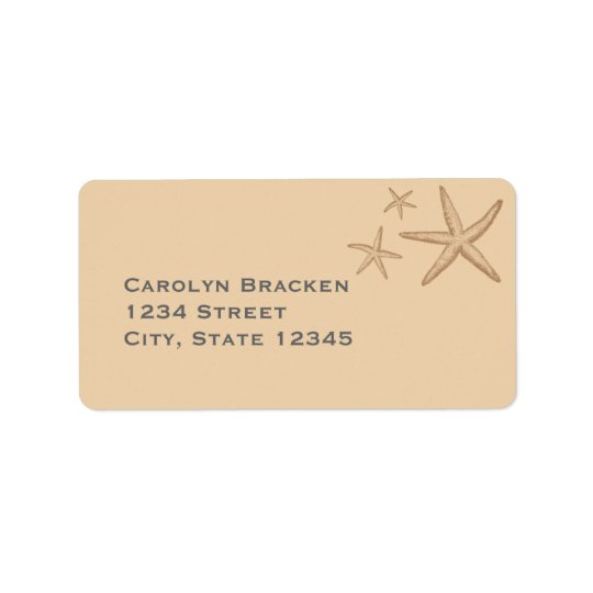 Beige Beach theme Starfish Return Address Label