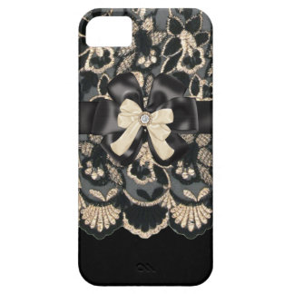 Beige & Black Rhinestone,Bows & Lace iPhone4 Case Barely There iPhone 5 Case