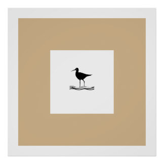 Beige Black White Bird Posters Posters