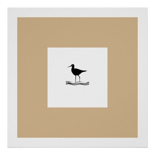 Beige, Black,White Bird Posters Posters