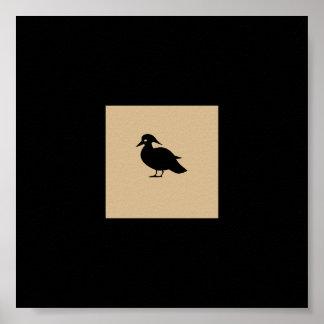 Beige, Black,White Bird Square Posters