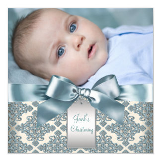 Beige Blue Damask Baby Boy Photo Christening Card