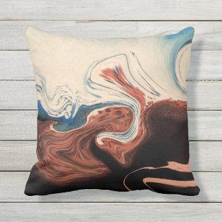 beige blue outdoor cushion
