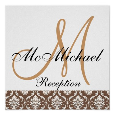Beige Brown Damask Monogram Wedding Reception Posters by monogramgallery