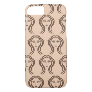 Beige Brown Female Faces Pattern Phone Case