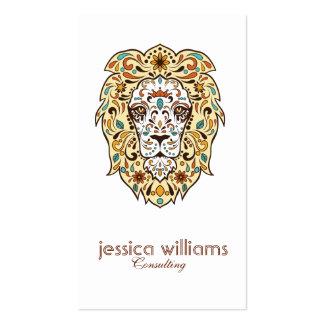 Beige & Brown Lion Head Sugar Skull Pack Of Standard Business Cards