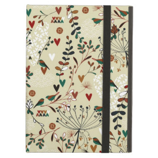 Beige & Brown Retro Flowers & Birds Pattern Cover For iPad Air