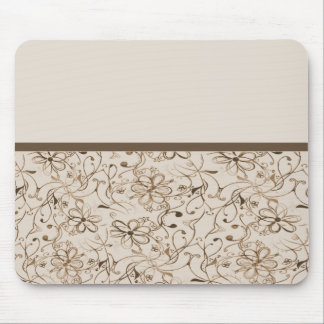 beige brown retro flowers mouse pad