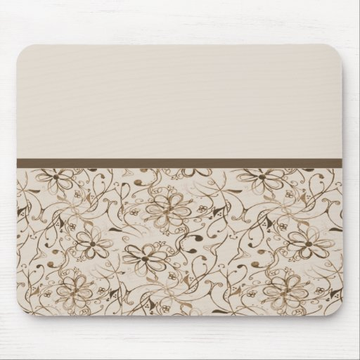 beige brown retro flowers mouse pads