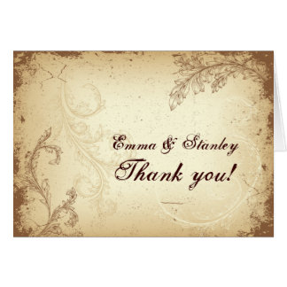Beige brown scroll leaf vintage wedding Thank You Card