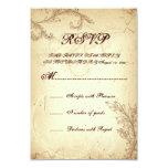 Beige, brown vintage scroll leaf wedding RSVP 9 Cm X 13 Cm Invitation Card