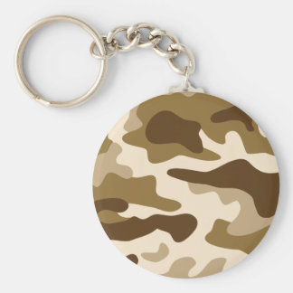 Beige camouflage pattern basic round button key ring