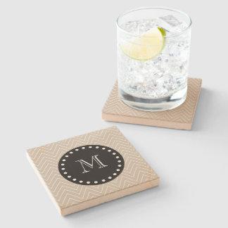 Beige Chevron Pattern | Black Monogram Stone Beverage Coaster