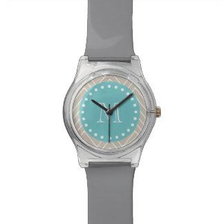 Beige Chevron Pattern | Teal Monogram Wrist Watches