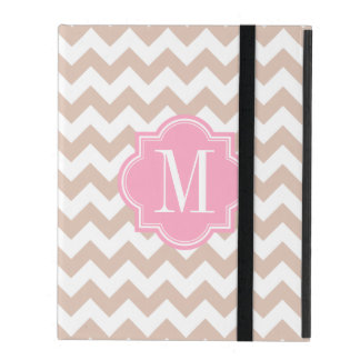 Beige Chevron with Pink Monogram iPad Cover