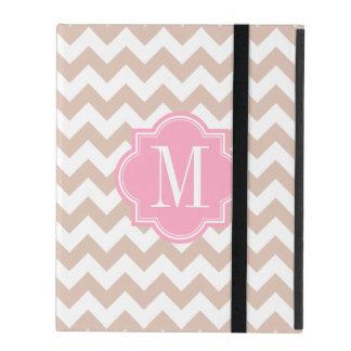 Beige Chevron with Pink Monogram iPad Covers