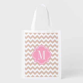 Beige Chevron with Pink Monogram Reusable Grocery Bags