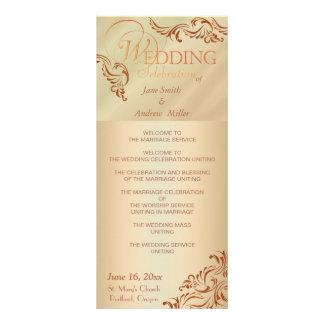 Beige color wedding programs full color rack card