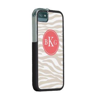 Beige & Coral Animal Print Custom Monogram iPhone 5/5S Case