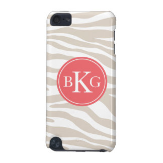 Beige Coral Animal Print Custom Monogram iPod Touch 5G Covers