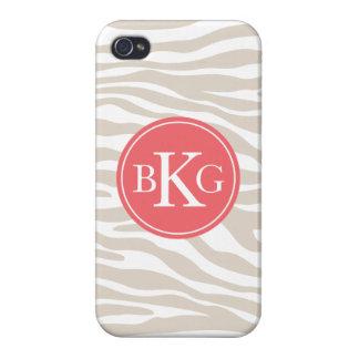 Beige & Coral Animal Print Custom Monogram iPhone 4/4S Case