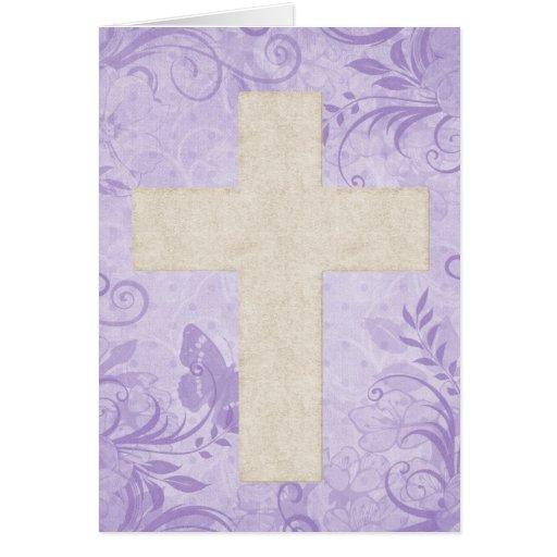 Beige Cross 1 Blank Christian Greeting Card