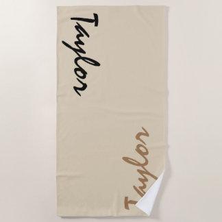 Beige Custom Name Personalized Beach Towel