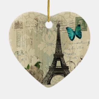 beige Damask butterfly rose Paris Eiffel Tower Christmas Ornament