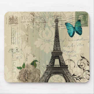 beige Damask butterfly rose Paris Eiffel Tower Mouse Mat