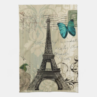 beige Damask butterfly rose Paris Eiffel Tower Tea Towel
