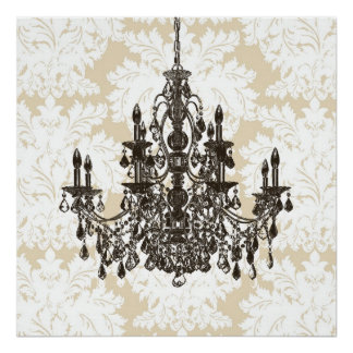 Beige Damask Chandelier Wall Art Print