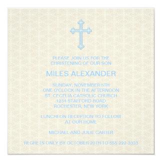 Beige Damask Cross Blue Boy Christening 13 Cm X 13 Cm Square Invitation Card