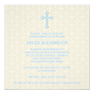 Beige Damask Cross Blue Boy Christening 13 Cm X 13 Cm Square Invitation Card