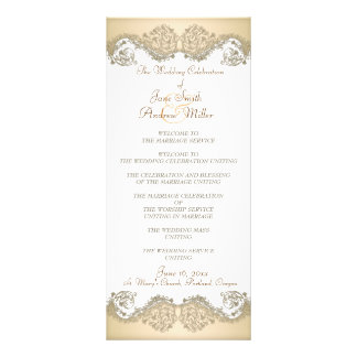 Beige Damask elegant Wedding Programs Customized Rack Card