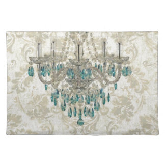 beige Damask French Country Vintage Chandelier Place Mats